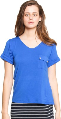 Zink London Casual Short Sleeve Solid Women's Blue Top