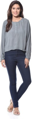 XNIVA Casual Full Sleeve Solid Women's Grey Top