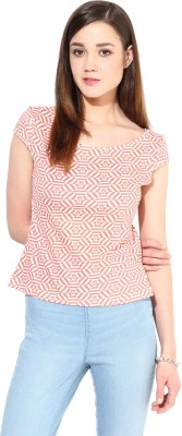 Trend18 Casual Short Sleeve Printed Women's Orange Top