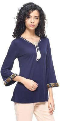 HANGNHOLD Casual 3/4 Sleeve Solid Women's Dark Blue Top