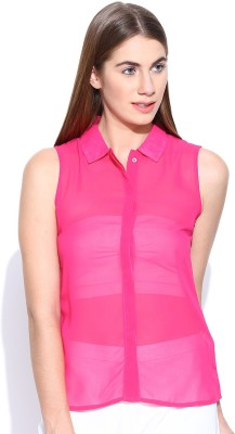 Rat Trap Casual Sleeveless Solid Women's Pink Top