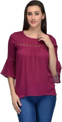 Onemm Casual 3/4 Sleeve Solid Women's Pink Top