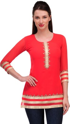 In-Trend Casual 3/4 Sleeve Solid Women,s Red Top