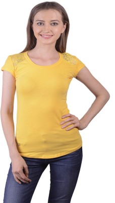 Lee Marc Casual Short Sleeve Solid Women's Yellow Top