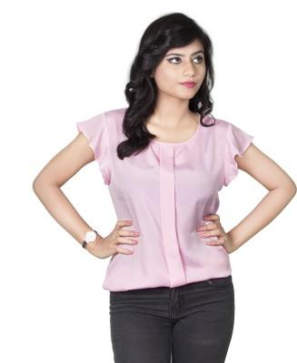 Dewberries Casual Cape Sleeve Solid Women's Pink Top