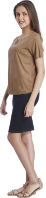 Only Casual Short Sleeve Solid Women's Brown Top