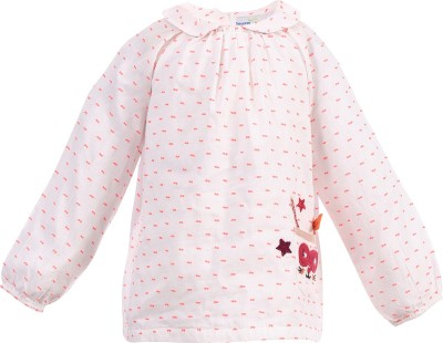 ShopperTree Casual Full Sleeve Printed Baby Girl's White Top