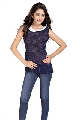 Eighteen4ever Casual Sleeveless Solid Women's Blue Top