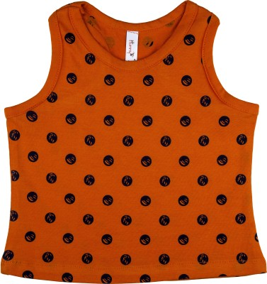 Hunny Bunny Casual Sleeveless Polka Print Girl's Orange Top