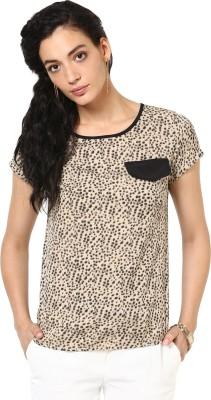 Kaxiaa Casual Short Sleeve Printed Women's Beige Top