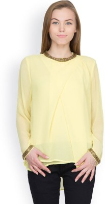 Orous Casual Full Sleeve Solid Women's Yellow Top