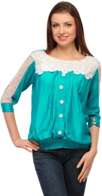 Visach Casual 3/4 Sleeve Embroidered Women's Blue Top