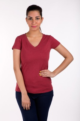 De Moza Casual Short Sleeve Solid Women's Maroon Top
