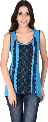 Latin Quarters Casual Sleeveless Self Design Women's Blue Top