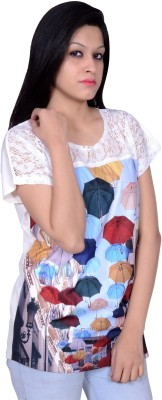 Womaniya by Being Dessi Party Short Sleeve Printed Girl's Multicolor Top
