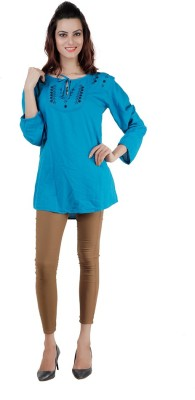 Pret a Porter Casual Full Sleeve Embellished Women's Blue Top