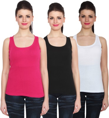 NumBrave Sports Sleeveless Solid Women's Pink, Black, White Top