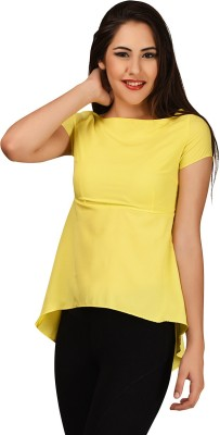 LA ATTIRE Casual Short Sleeve Solid Women's Yellow Top