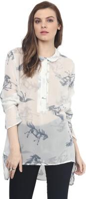 Rose Vanessa Casual Full Sleeve Printed Women's White Top