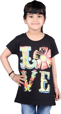 Skidlers Casual Short Sleeve Solid, Graphic Print Girl's Black Top