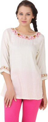 Lili Blank Casual 3/4 Sleeve Solid Women's White Top