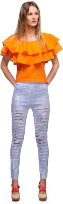 Yolo Designs Casual Sleeveless Solid Women's Orange Top