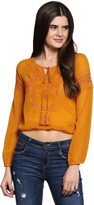 Sixes And Sevens Nyc Casual Balloon Sleeve Embroidered Women's Yellow Top