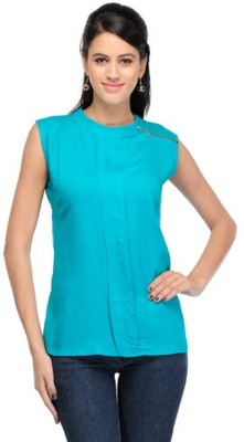 PINK SISLY Casual Sleeveless Solid Women's Green Top