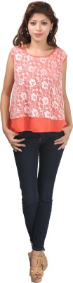 Just Wow Casual Sleeveless Embroidered Women's Pink Top