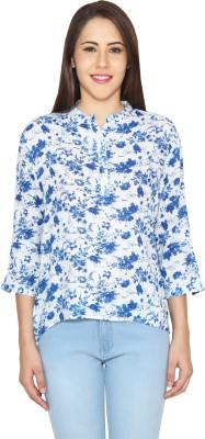 CJ15 Casual 3/4 Sleeve Floral Print Women's Blue Top