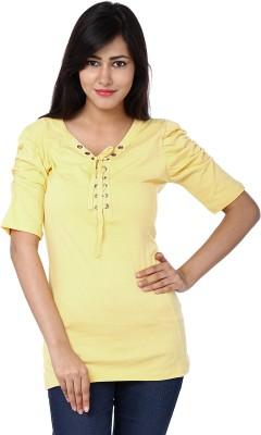 Adhaans Casual Short Sleeve Solid Women's Yellow Top