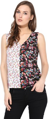 Citrine Casual Sleeveless Floral Print Women,s White, Black Top