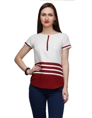 Eavan Casual Short Sleeve Solid Women White Top at flipkart
