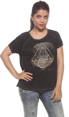Pepe Casual Short Sleeve Printed Women's Black Top