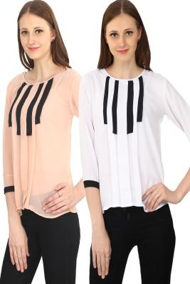 Glitterss Casual 3/4 Sleeve Solid Women's White, Beige Top