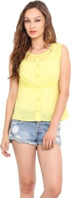 Instacrush Casual Sleeveless Solid Women,s Yellow Top