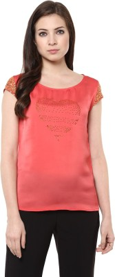 AR2 Party Cap sleeve Embellished Women's Red Top