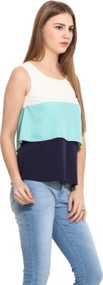 Albely Casual Sleeveless Solid Women's Blue Top