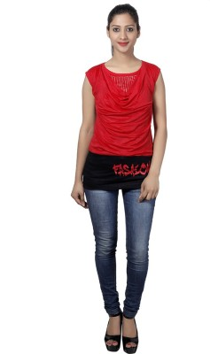 Western World Casual Sleeveless Self Design Women's Red Top