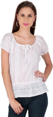 Lemon Chillo Casual Short Sleeve Woven Women's White Top