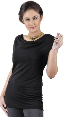 My Hollywood Shop Casual Sleeveless Solid Women's Black Top