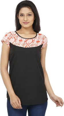 Today Fashion Casual Short Sleeve Solid Women's Black, Orange Top