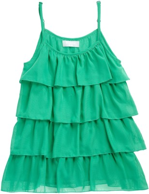 Kami Casual Sleeveless Solid Girl's Green Top