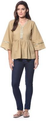 XNIVA Casual 3/4 Sleeve Solid Women's Beige Top