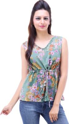 Avon Apparels Casual Sleeveless Floral Print Women's Green Top