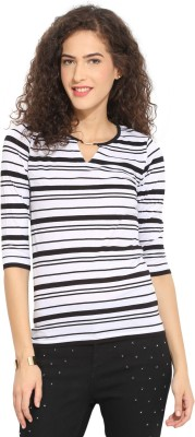 Northern Lights Casual 3/4 Sleeve Striped Women's Black, White Top