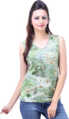 Avon Apparels Casual Sleeveless Printed Women's Green Top