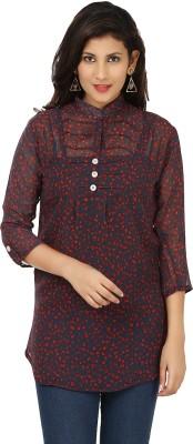 Yashasvi Casual 3/4 Sleeve Printed Women's Dark Blue, Red Top