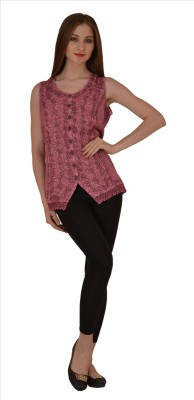 Skirts & Scarves Casual Sleeveless Embroidered Women's Pink Top