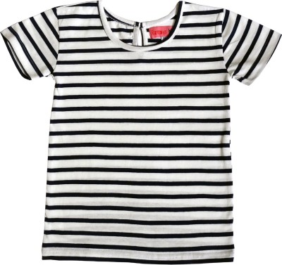 Always Kids Casual, Festive, Party Short Sleeve Striped Girl's Dark Blue Top